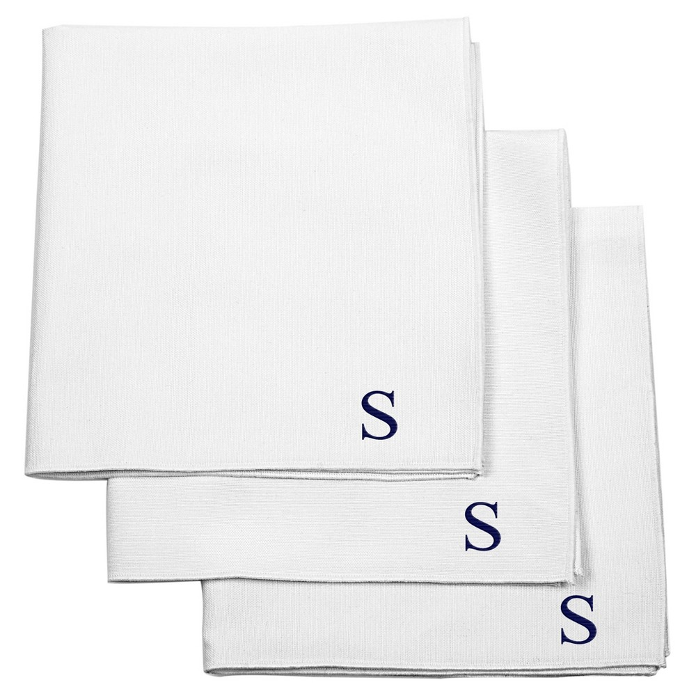 Monogram Groomsmen Gift Handkerchief Set - S, White