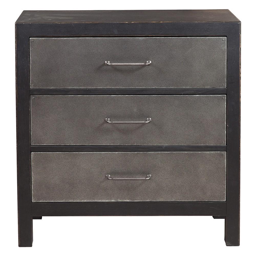 Industrial Style Three Drawer Accent Chest - Distressed Black - Pulaski