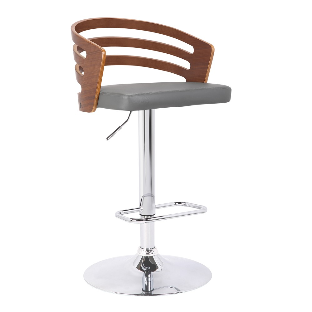 Image of Adele Mid-Century Adjustable Swivel Barstool in Chrome with Gray Faux Leather and Walnut Veneer - Armen Living