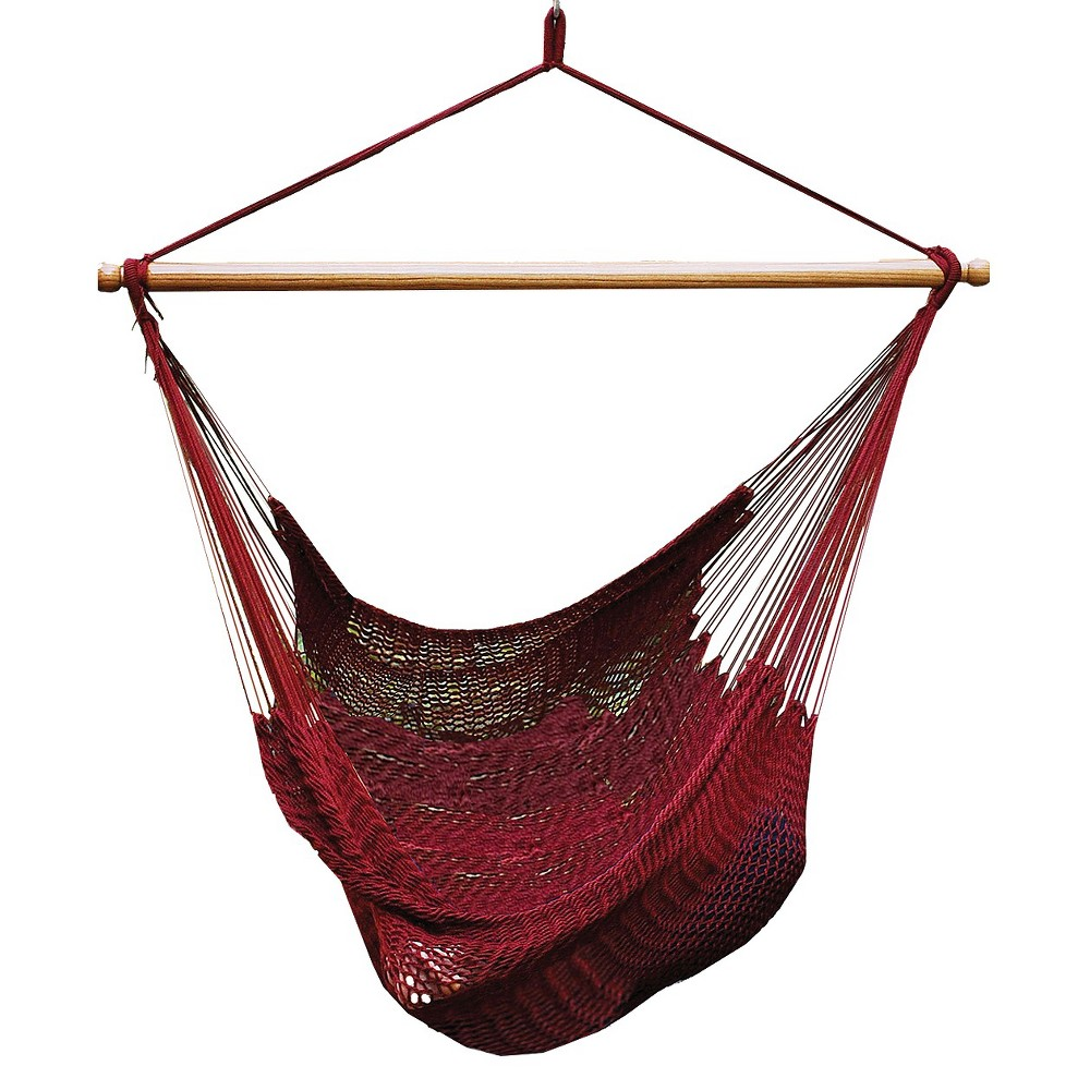 Enjoy the perfect place to read, relax, nap or catch some rays with the Algoma Caribbean patio hammock chair. Made from soft, tightly-woven polyester rope, it allows you to stretch out, curl up and everything in between. This burgundy hammock chair\\\'s 44-inch spreader bar holds it open for easy entrance and exit. Chair stands and hanging hardware are sold separately. Weight Capacity 300 lbs. Gender: unisex.