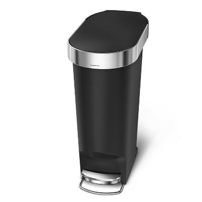 simplehuman 40L Slim Liner Rim Plastic Step Trash Can Black