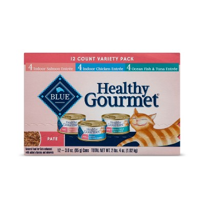 Blue Buffalo Healthy Gourmet Adult Pate (Variety Pack)- Wet Cat Food - 12ct