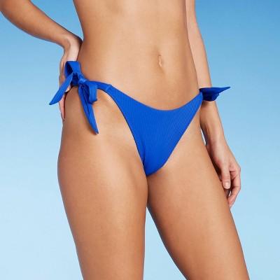 Women's Side-Tie Ribbed High Leg Extra Cheeky Bikini Bottom - Shade & Shore™ Sapphire Blue