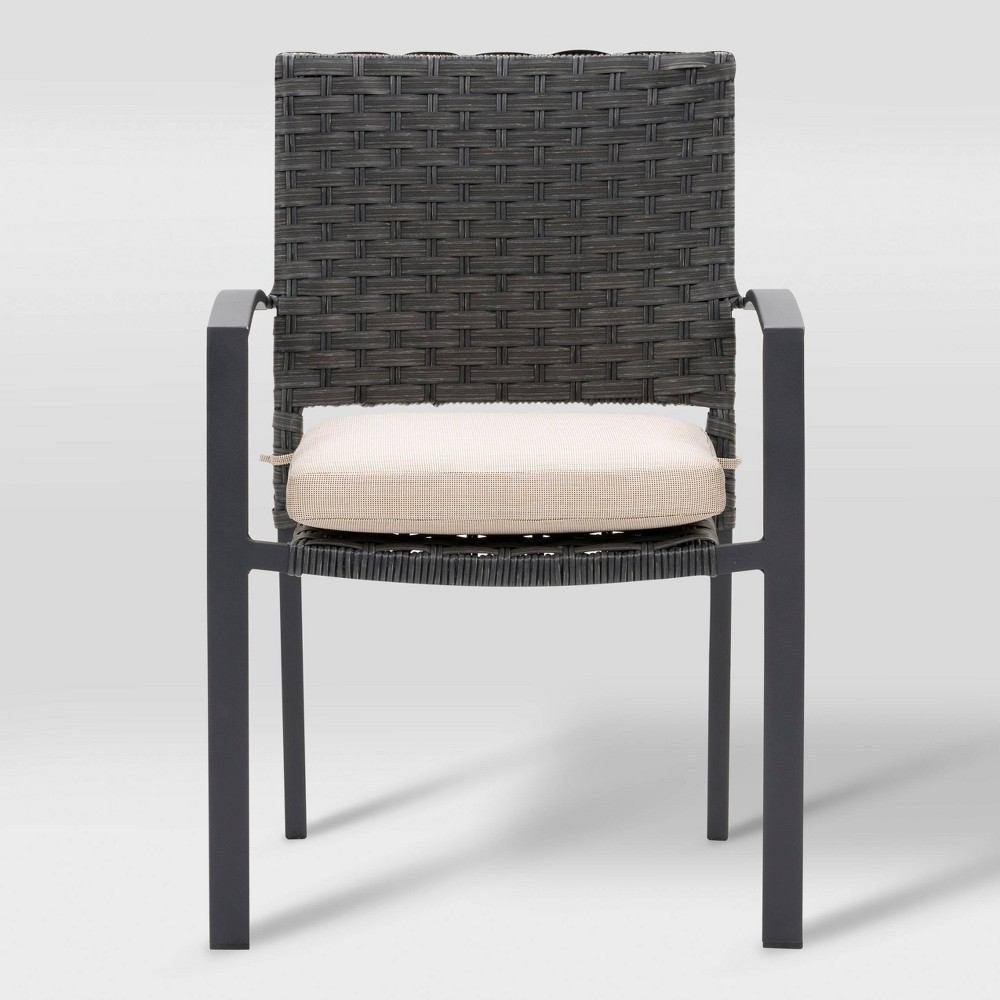 Parkview 4pk Patio Dining Chair - Charcoal Gray/Beige - CorLiving