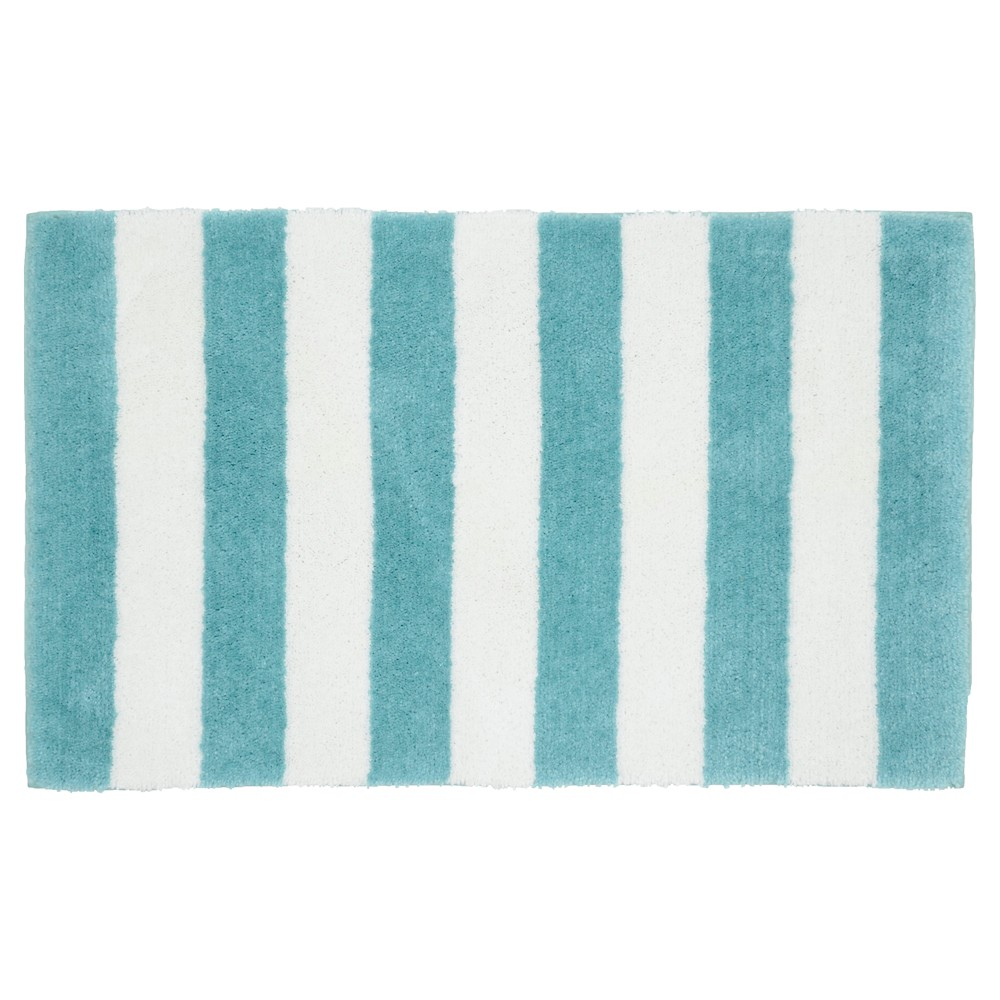 "Image of ""Beach Stripe Bath Rug - Seafoam/White - (21""""x34"""") - Garland Rug"""