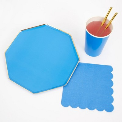 Meri Meri - Blue Party Supplies Collection (Plate, Napkin, Cup) - Set of 8