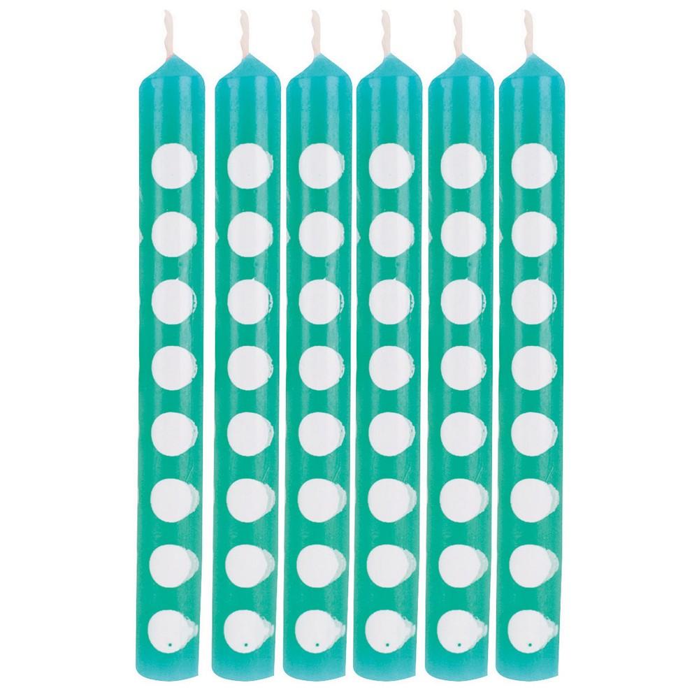 Image of 12ct Polka Dot Candles Teal