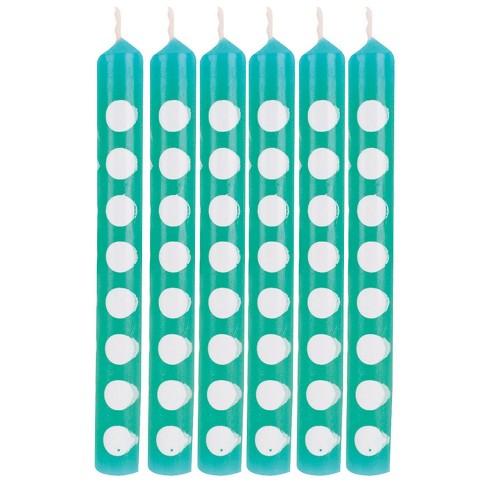 12ct Polka Dot Candles Teal - image 1 of 2