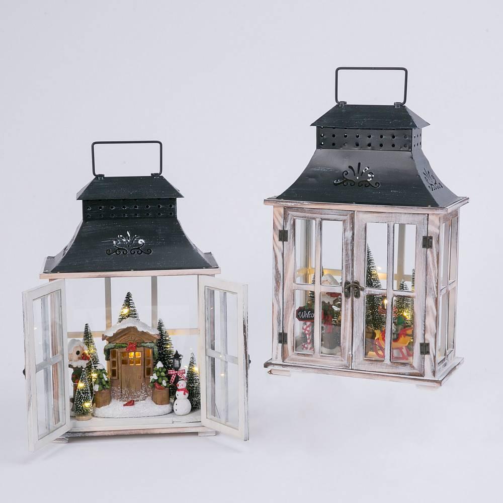 "Image of ""18.5""""/2pc Battery Operated Wood Lanterns Decorative Figurines - Gerson International"""