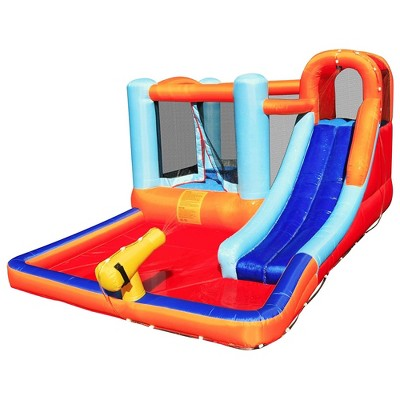 Hoovy Inflatable Castle Outdoor Adventure Kids Toddler Bounce House with Built In Trampoline Water Park Slide and Spraying Cannon with Blower