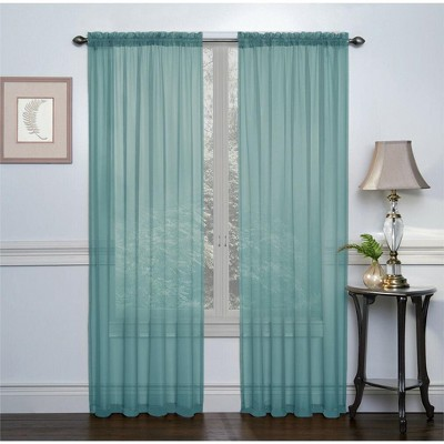 Regal Home Collections Turquoise Premium Semi Sheer Voile Curtain Pair - 52 in. W x 84 in. L