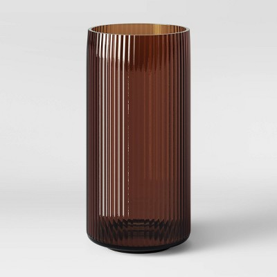 "12"" x 5.75"" Ribbed Glass Vase Amber - Threshold™"
