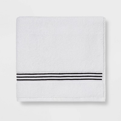 Spa Bath Towel Black Stripe - Threshold Signature™