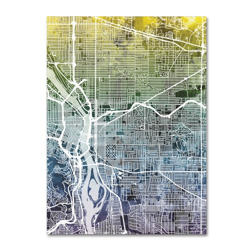 Michael Tompsett Portland Oregon Street Map V Unframed Wall Canvas ...