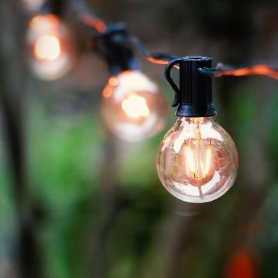 Brightech JL-3BB7-X0UZ Waterproof 1 Watt LED Outdoor 26 Feet String Edison Patio Globe Lights with 12 Light Bulbs, Warm White