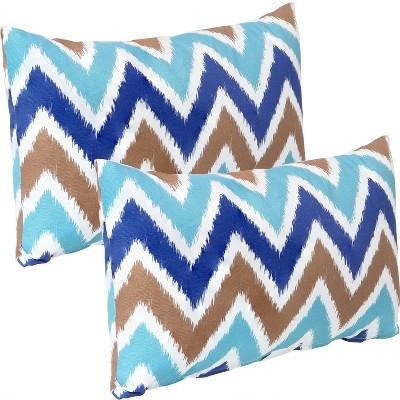 "12"" x 20"" Lumbar Decorative Indoor/Outdoor Pillow - Set of 2 - Chevron Bliss - Sunnydaze Decor"