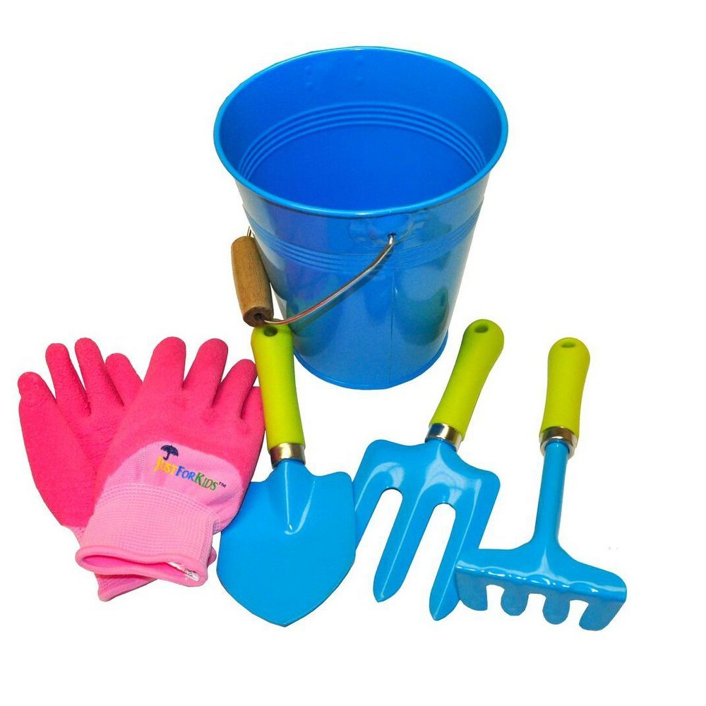 Image of Kids Water Pail with Garden Tools Set and Gloves - Blue - Justforkids