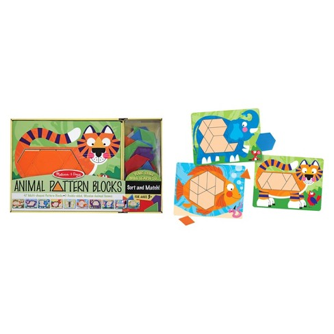 Melissa & Doug® Animal Pattern Blocks Set With 5 Double-Sided Wooden Boards and 47 Multi-Shaped Blocks - image 1 of 4