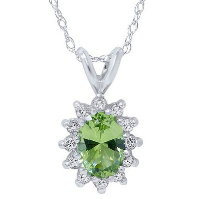 Pompeii3 1 1/6ct Oval Peridot Halo Diamond Pendant 14K White Gold