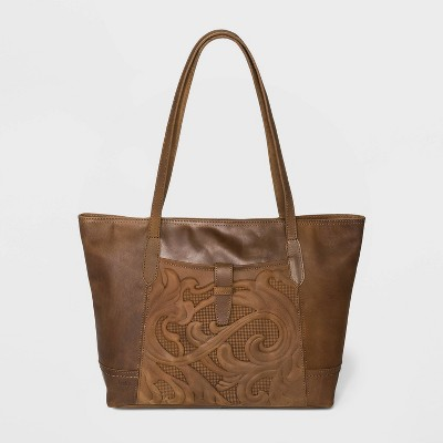 Bolo Zip Closure Embossed Tote Handbag - Brown
