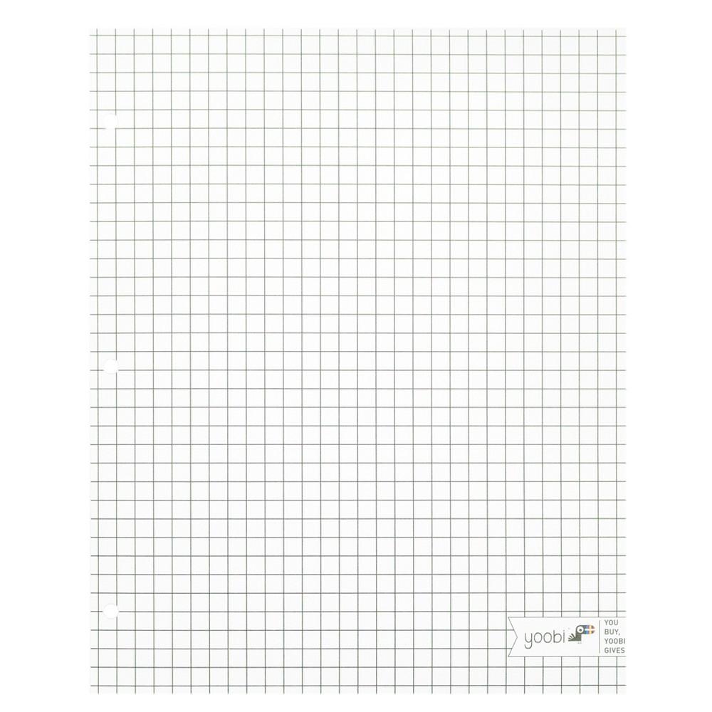 2 Pocket Paper Folder Black & White Grid - Yoobi, Multi-Colored