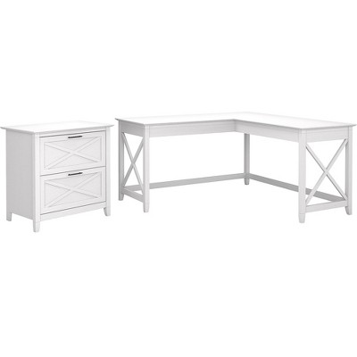 Bush Furniture Key West 60 L-Shaped Desk with Lateral File Cabinet, Pure White Oak KWS014WT