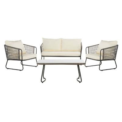 Benjin 4pc Living Set - Gray/White - Safavieh