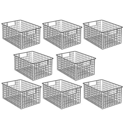 mDesign Metal Storage Basket Bin with Handles for Closets, 8 Pack