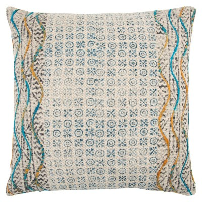 """20""""x20"""" Oversize Geometric Square Throw Pillow Cover Blue - Rizzy Home"""
