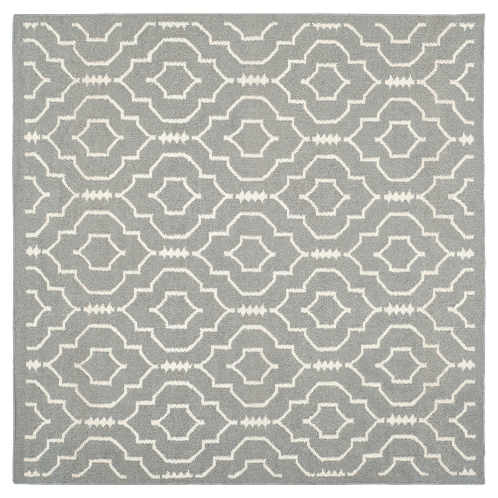Dhurries Rug - Grey/Ivory - (6'x6' Square) - Safavieh, Gray/Ivory