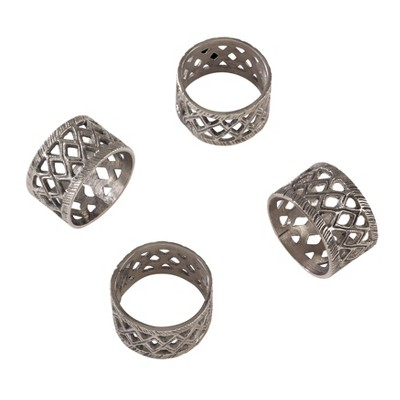 Silver Diamond Cutout Design Ethnic Tribal Style Napkin Ring Set of 4 - Saro Lifestyle