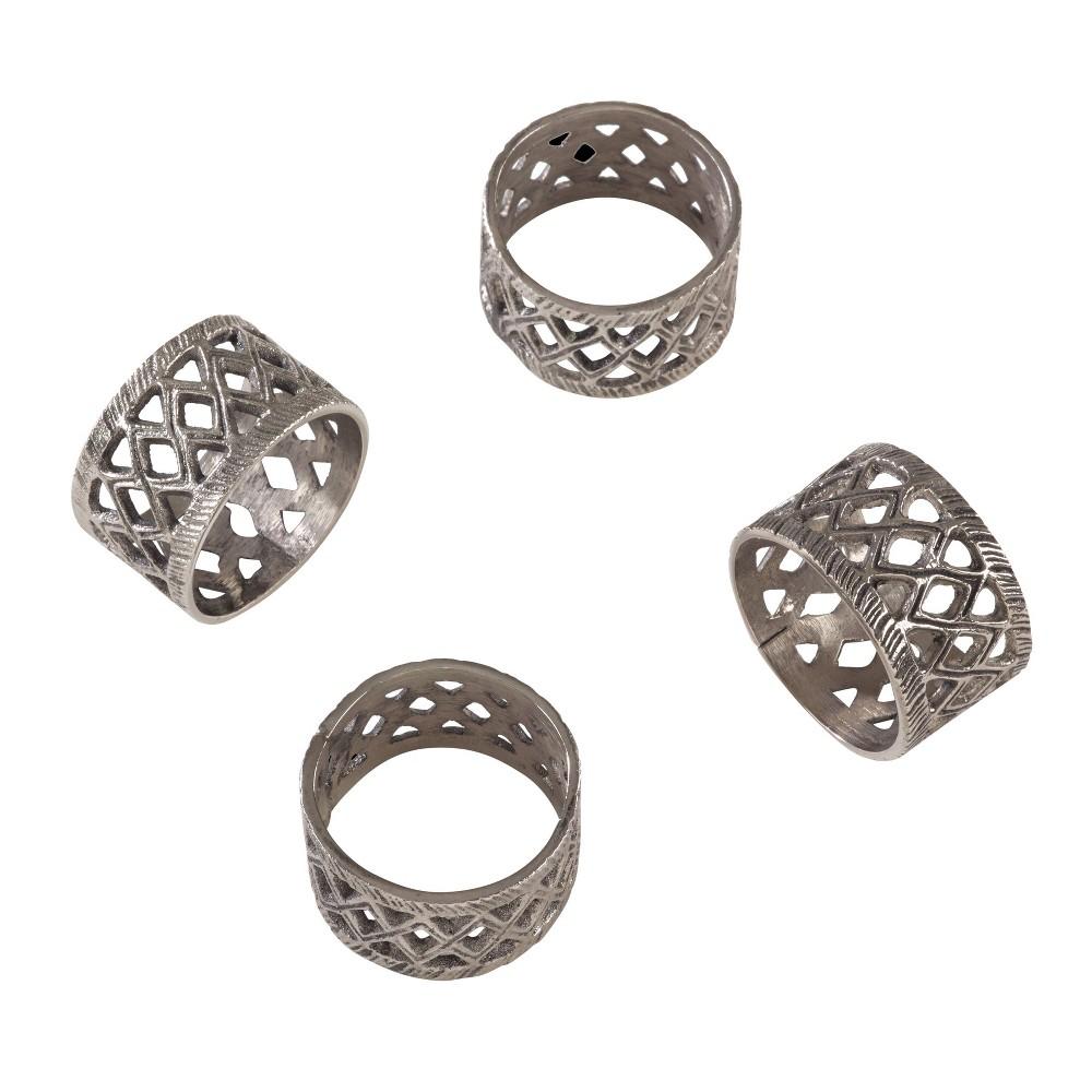 Set Of 4 Silver Diamond Cut Out Geometric Style Napkin Ring Saro Lifestyle