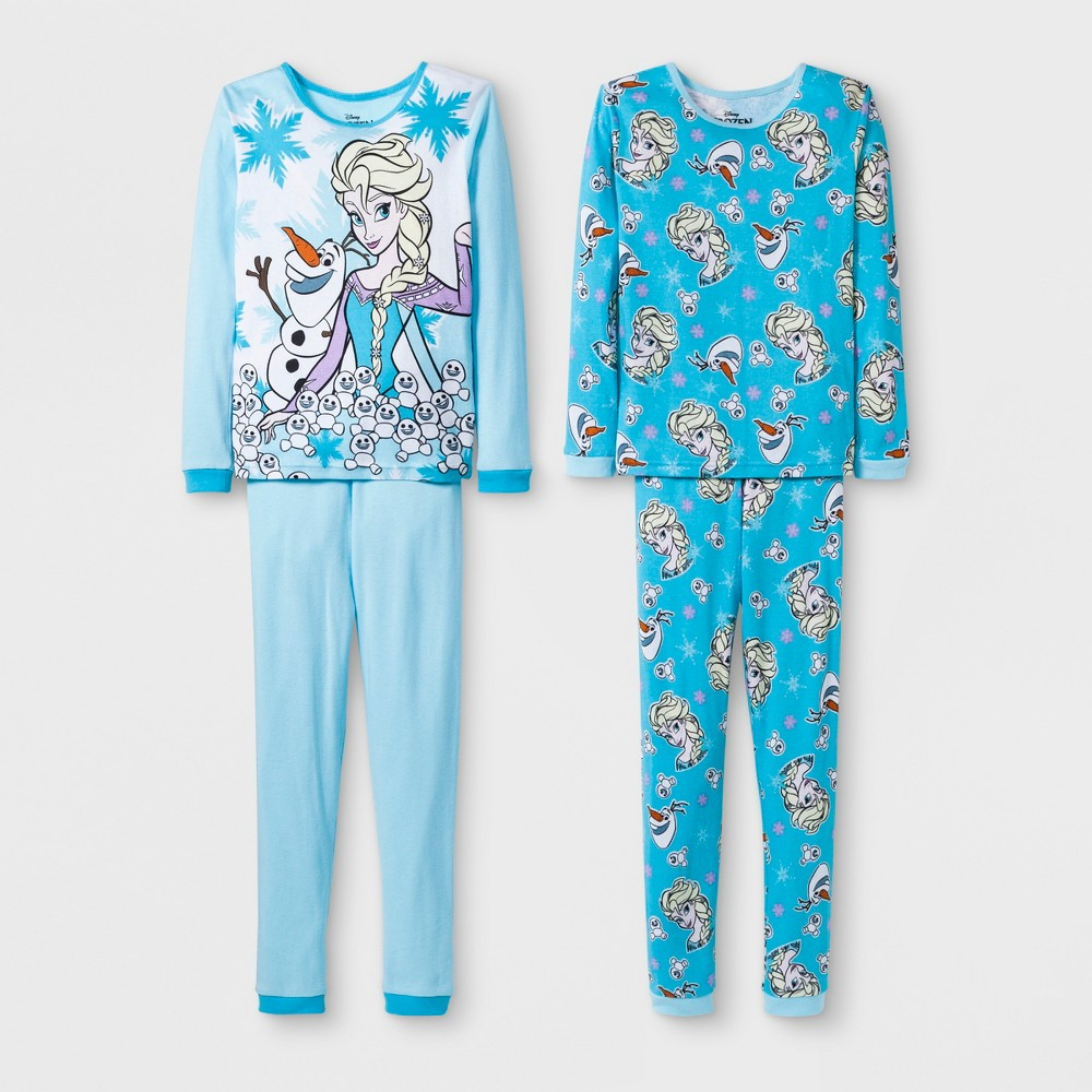 Girls' Frozen Elsa 4pc Pajama Set - Blue 8, Multicolored