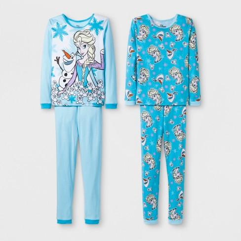 5d192a70c Girls  Frozen Elsa 4pc Pajama Set - Blue   Target