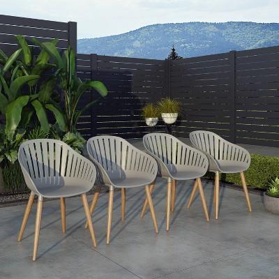 Bayeux 4pc Chair Set Dark Teak Finish - Amazonia
