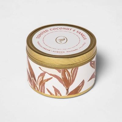 4.8oz Lidded Tin Jar Toasted Coconut and Vanilla Candle - Opalhouse™