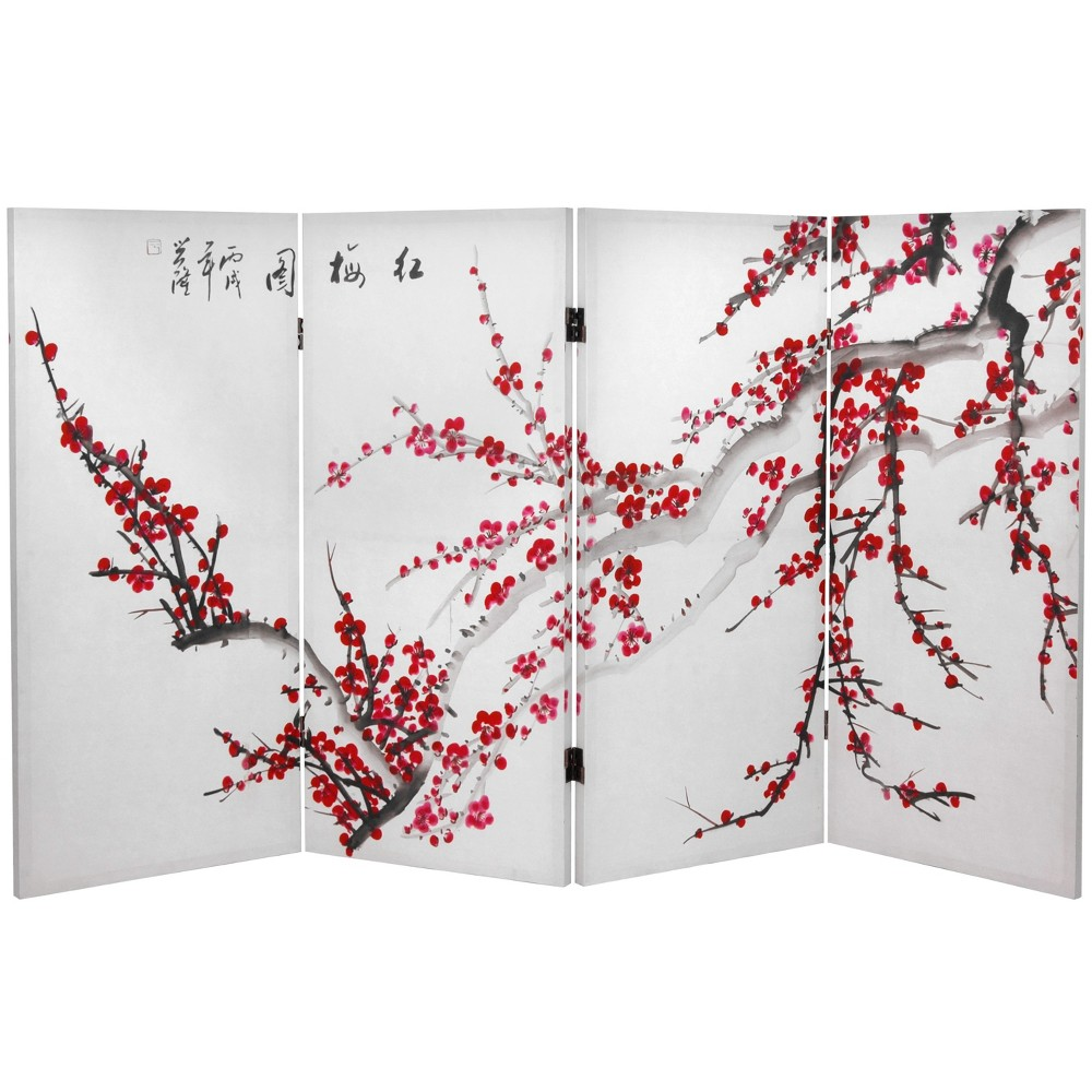 Image of 3' Tall Double Sided Plum Blossom Canvas Room Divider - Oriental Furniture, White