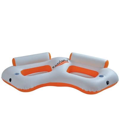 """Pool Central 85"""" Classic """"Riverland"""" Inflatable 2-Person Swimming Pool Sofa - Orange/White"""