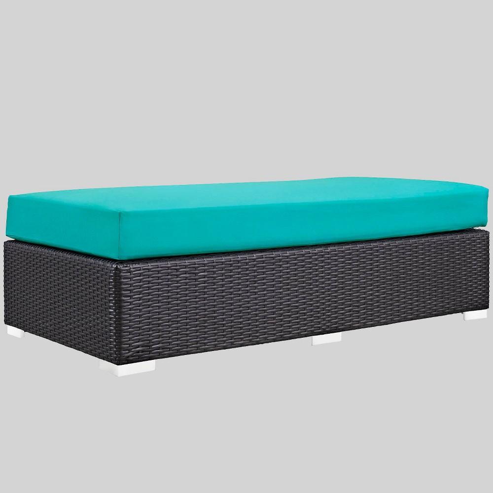 Convene Rectangle Outdoor Patio Ottoman - Turquoise - Modway