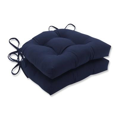 2pk Butler Reversible Chair Pad Navy - Pillow Perfect