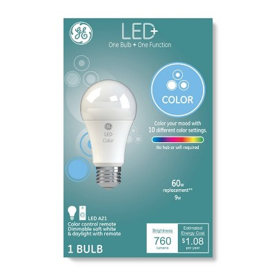 General Electric 60W A19 With Remote Color Changing LED Light Bulb Clear