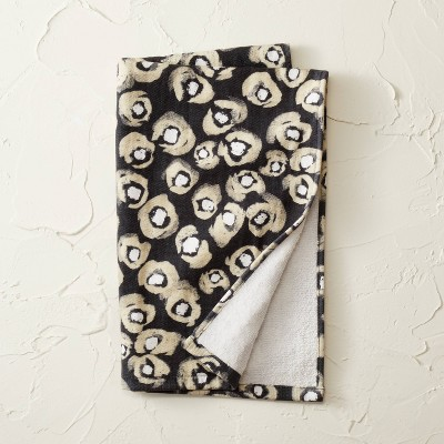 Leopard Print Flat Woven Hand Towel Black - Opalhouse™ designed with Jungalow™
