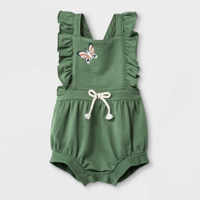 Baby Girls' Ruffle Strap Sleeveless Butterfly Romper - Cat & Jack™ Green Newborn