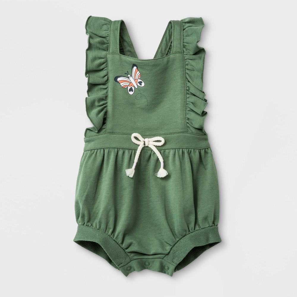 Baby Girls' Ruffle Strap Sleeveless Butterfly Romper - Cat & Jack Green Newborn