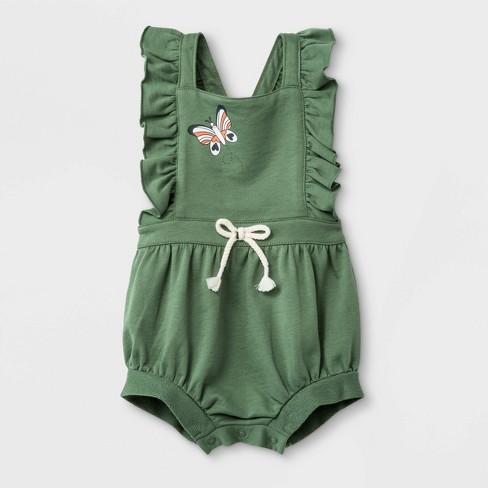 Baby Girls' Ruffle Strap Sleeveless Butterfly Romper - Cat & Jack™ Green - image 1 of 2