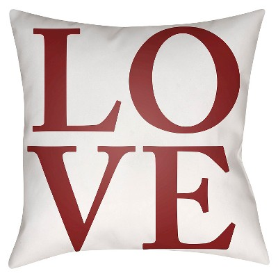 Red LOVE Throw Pillow 18 x18  - Surya