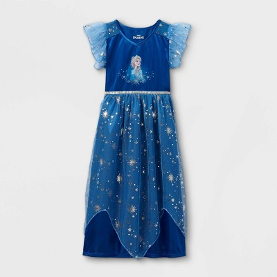 Girls' Disney Frozen Elsa Midnight Snowflakes Printed Nightgown - Blue