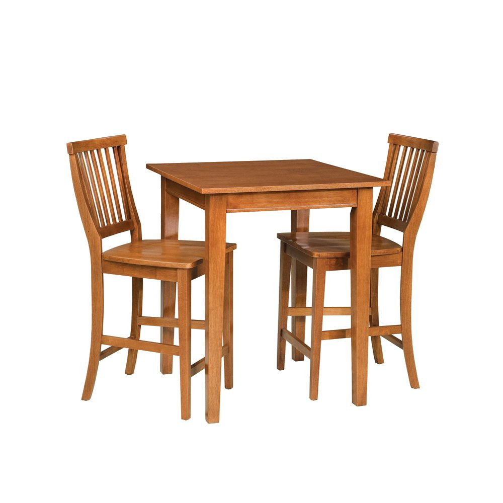 Image of 3 Piece Bistro Square Table with 2 Stools Wood/Natural - Home Styles