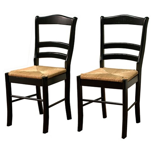 Paloma Dining Chair With Rush Seat Black Set Of 2 Tms