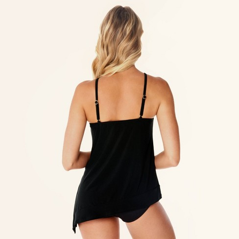 9e3cba58c5 Women's Slimming Control High Neck Asymmetrical Tankini Swim Top - Black -  14 - Dreamsuit® By Miracle Brands™ : Target